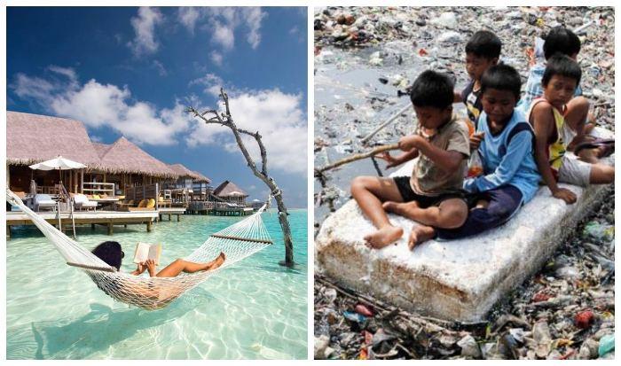 Контрастная жизнь на Мальдивах.