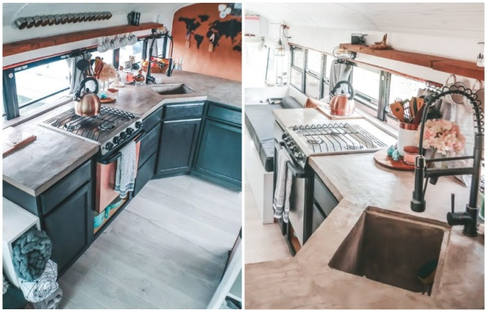 В автобусе удалось организовать полноценную кухню (Oliver). | Фото: instagram.com/ sincewewokeup.