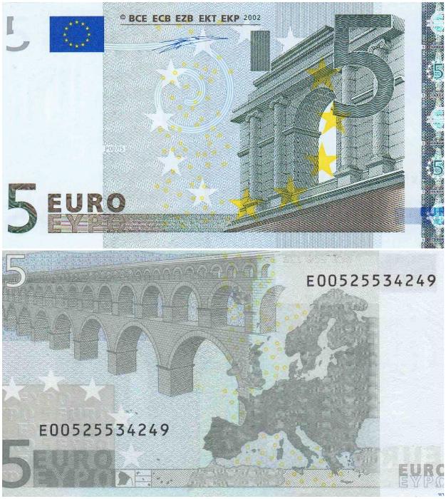 Основные элементы античного стиля в искусстве изображены на купюре в 5 евро. | Фото: bigproof.ru/ banknotes.finance.ua.