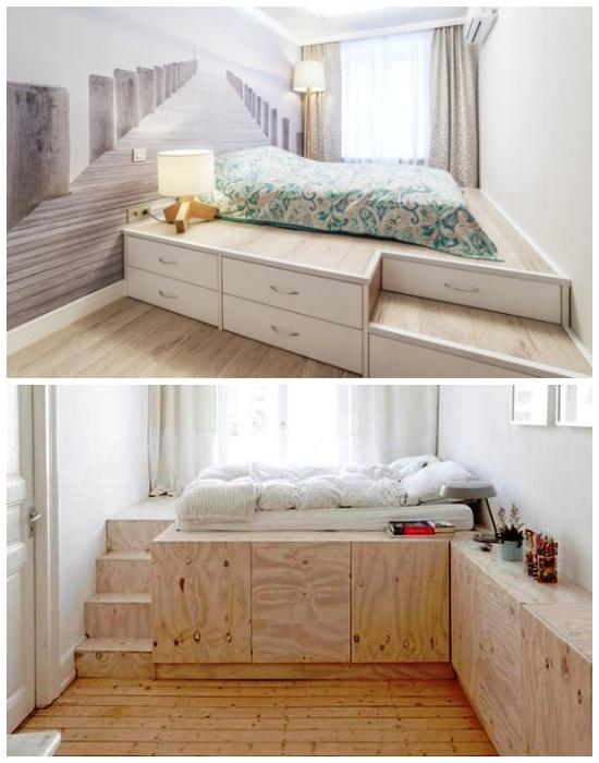 Интересные варианты корректировки узких комнат с помощью подиума.