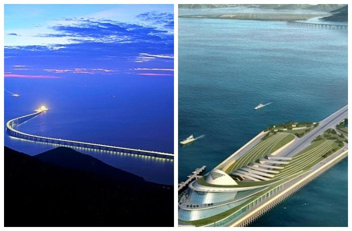 Мост переходит в самый длинный в мире подводный тоннель (Мост Гонконг – Чжухай – Макао (Китай).