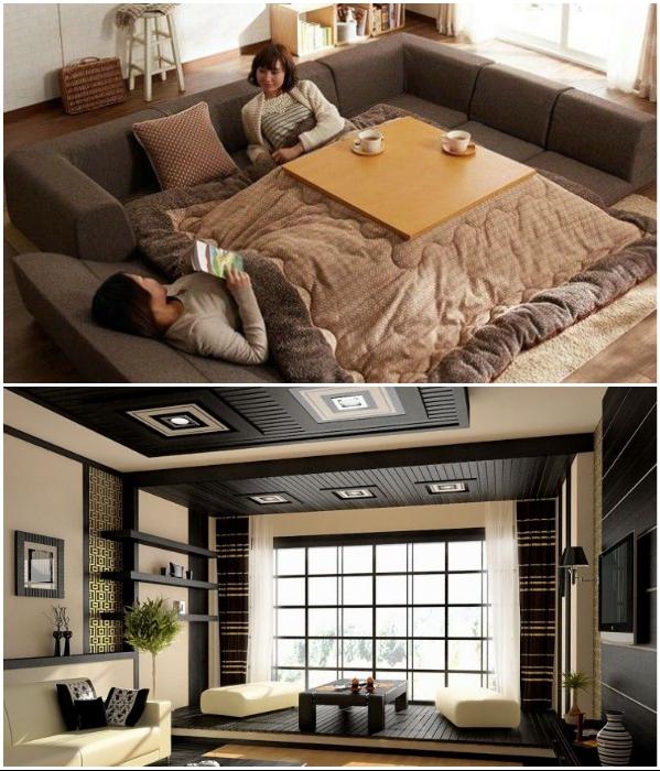 Обеденная зона на подиуме легко превращается в спальню. | Фото: in.pinterest.com/ decorpro.blog.