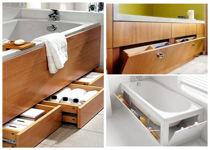 Пространство под ванной тоже надо правильно использовать. | Фото: dress-express.com.ua.