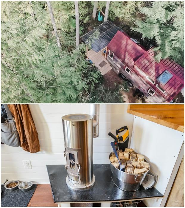 Чтобы дом был энергетически независимым, установили солнечные панели и дровяную печь из нержавеющей стали (Tiny House Giant).