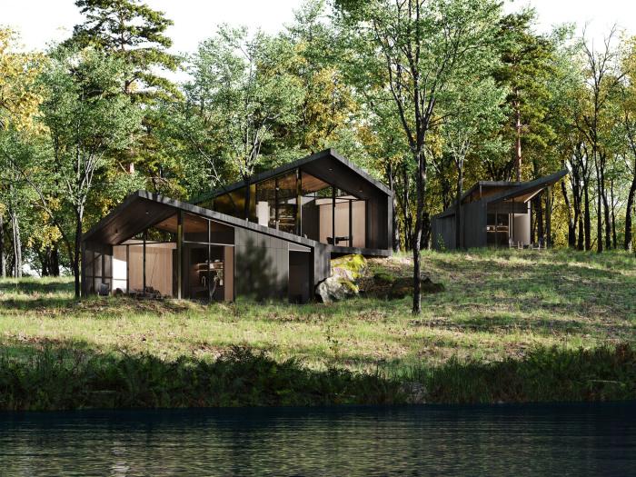 Три гостевых дома расположены на берегу озера, вдали от основной резиденции (концепт Sylvan Rock). | Фото: dezeen.com.