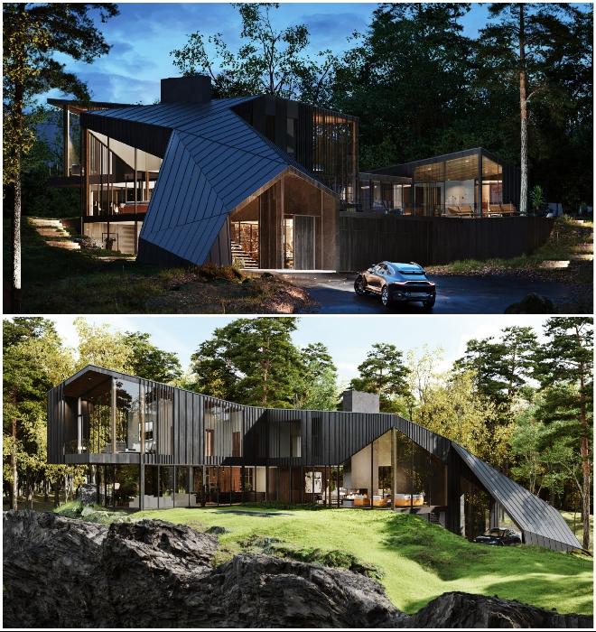 Крыша имитирует очертания горных вершин и является «естественным» ее продолжением (концепт Sylvan Rock).