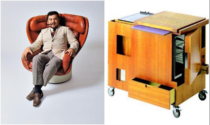 Легендарный дизайнер-футурист Джо Коломбо и его первая мини-кухня «Minikitchen». | Фото: famous.totalarch.com/ pinterest.es.
