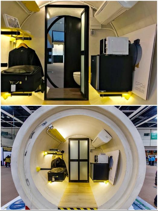 Во второй половине дома-трубы обустроена мини-кухня, гардеробная, санузел и душевая (OPod Tube House, Гонконг). | Фото: bigpicture.ru.