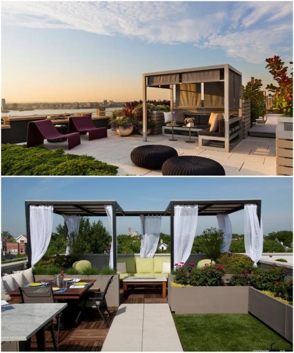 Даже на крыше дома можно создать особый уголок отдыха на свежем воздухе с беседкой в главной роли. | Фото: remontbp.com.