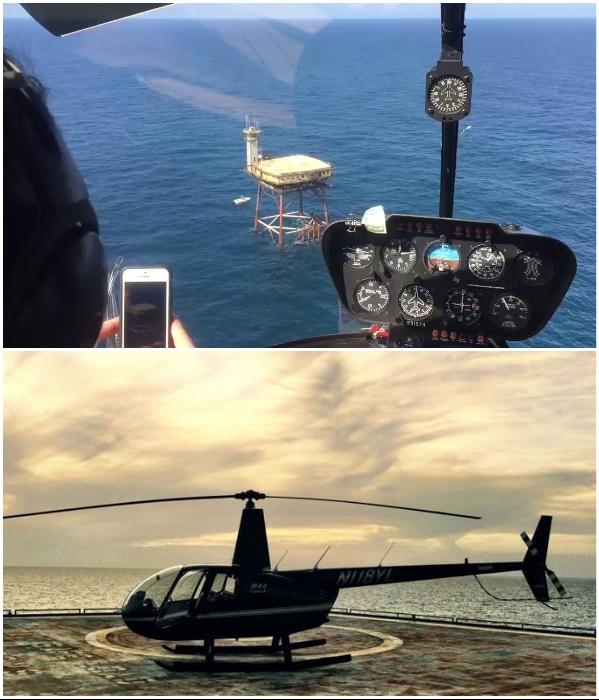 Добраться к отелю можно лишь на вертолете или катере («The Frying Pan Tower», США). | Фото: wowrightmeow.com.