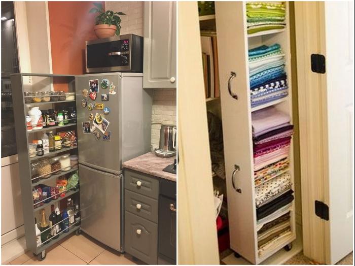 Узкие полки можно пристроить и за холодильник в кухне и в гардеробной. | Фото: pinterest.com/ webrafi.com.