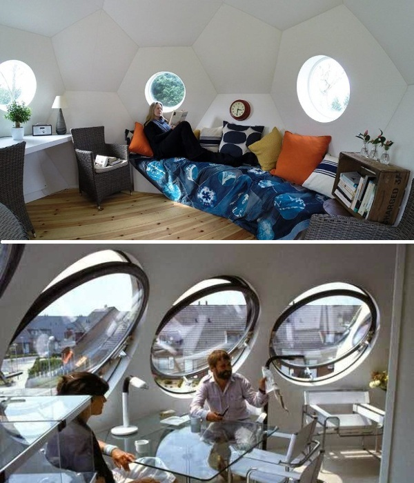 Гостиная-столовая находится на третьем этаже, откуда открывается восхитительный вид (Bolwoningen, Hertogenbosch). | Фото: vamsterdame.com.