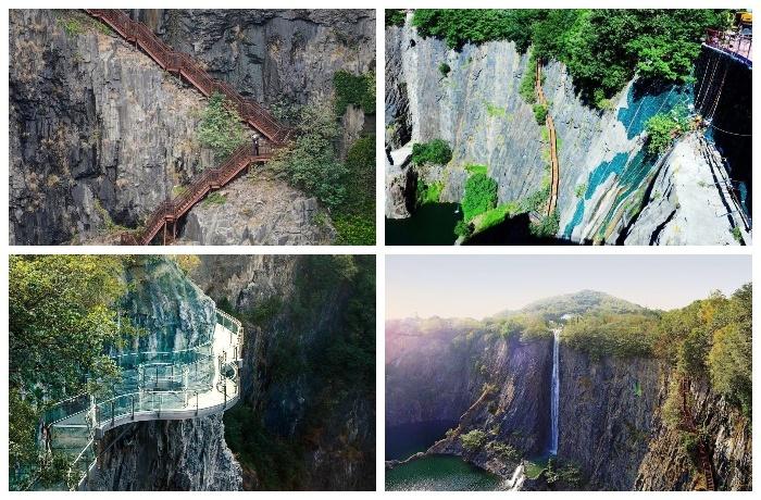 Любители активного отдыха могут спускаться к отелю Songjiang InterContinental по крутой лестнице.
