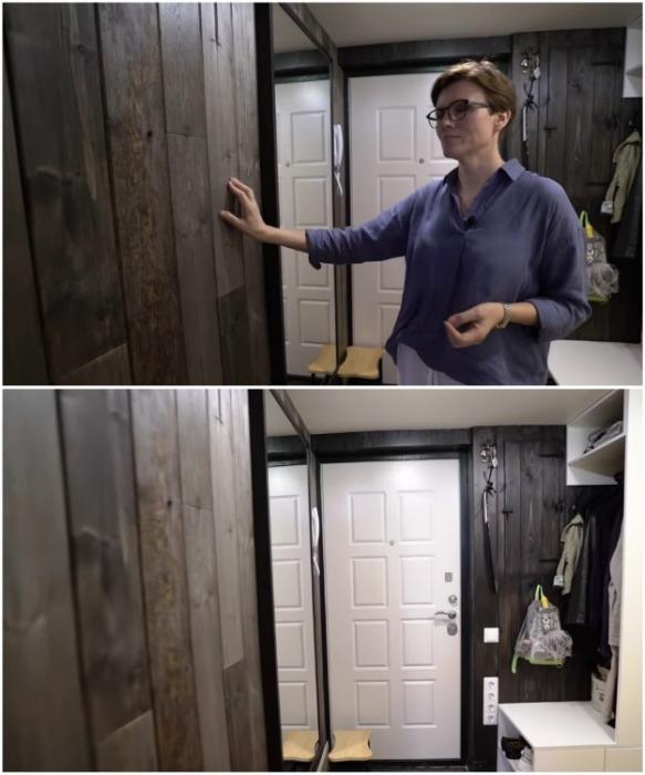 Стены прихожей обшили древесиной со стороны, где больше всего пачкается и затирается. | Фото: youtube.com/ INMYROOM TV.