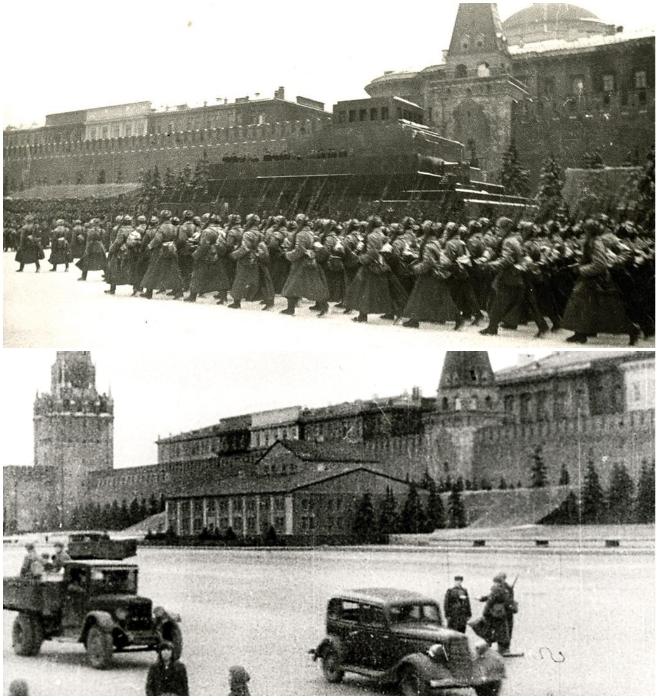 Мавзолей Ленина во время парада 7 ноября 1941 г. и как его замаскировали. | Фото: putin-today.ru.