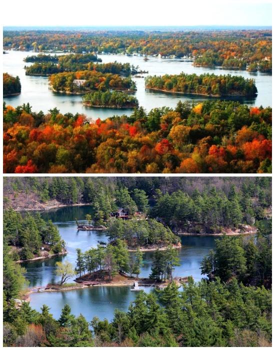 Архипелаг «Тысяча островов» имеет длина 80 км. и проходит через Канаду и Соединенные Штаты.