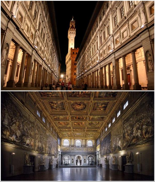 Галерея Уффици во Флоренции – один из наиболее старых и известных музеев Европы (Италия).| Фото:  muzei-mira.com/ florenceguidetour.com.