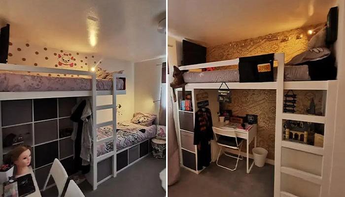 Заботливая мама переделала крошечную спальню,  обеспечив 3 дочкам собственное пространство