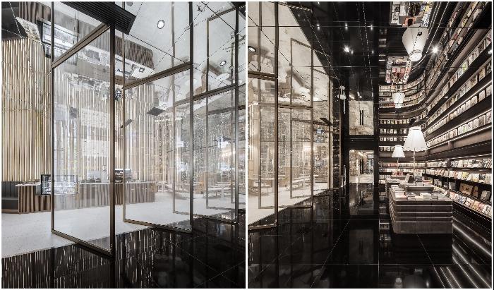 Впечатляющий переход от светлого интерьера кафе к таинственному зеркальному залу (Zhongshuge Bookstore, Нинбо). | Фото: interestingengineering.com.