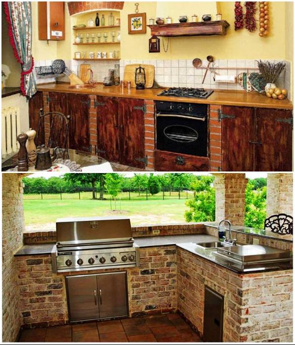Для монолитного кухонного гарнитура столешницу можно устанавливать из различных материалов.   Фото: dizaynkuhni.top/ fixmaster74.ru.