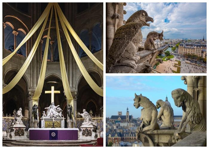 После реконструкции в 1847 - 1864 появилось много деталей и было создано 56 скульптур мифических химер (Notre-Dame Cathedral, Франция).