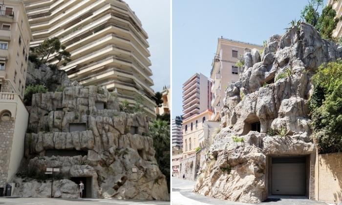 Огромная скала среди современных высоток Монако оказалась роскошной виллой в 6 этажей («Villa Troglodyte»). | Фото: kumparan.com.