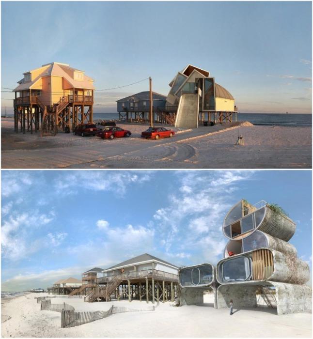Сюрреалистичный концепт «Dauphin Island» был одним из первых проектов Дионисио Гонсалеса. | Фото: designboom.com/ Dionisio Gonzalez.