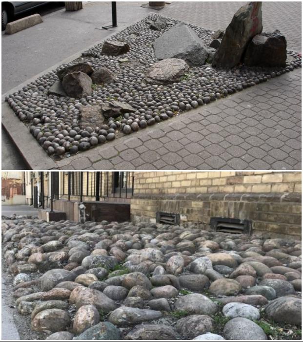 Каменные экспозиции создают не ради красоты, а для того, чтобы помешать бездомным устроить спальное место.