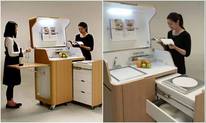 Кухня-гостиная «Kenchikukagu» станет идеальным модулем и для миниатюрной квартиры и для офиса. | Фото: interestingengineering.com.