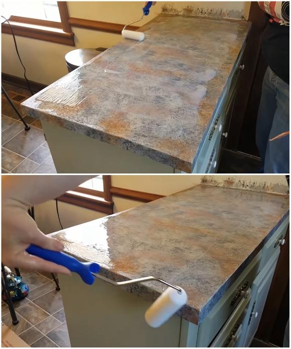 Чтобы «гранитное» покрытие прослужило долго его нужно вскрыть полиуретановым покрытием и лаком. youtube.com/ Lisa Capen Quilts.