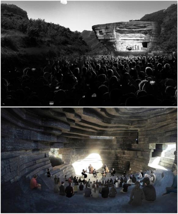 Зрительный зал находится и внутри концертного зала и снаружи, все зависит от концертной программы (визуализация «Chapel of Sound», Китай). | Фото: freecadworld.com.