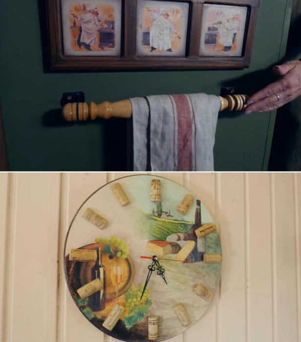 Для украшения преображенной кухни повесили деревянную вешалку и оригинальные часы, сделанные собственными руками. | Фото: youtube.com/ © Новая Кухня Натали Нуво.