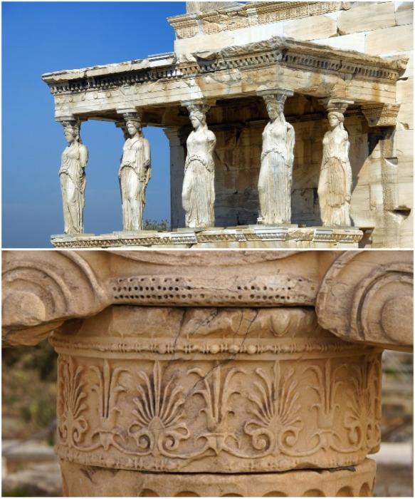 В древности Парфенон был щедро украшен статуями и резными элементами (Афины, Греция). | Фото: pohod-v-gory.com.