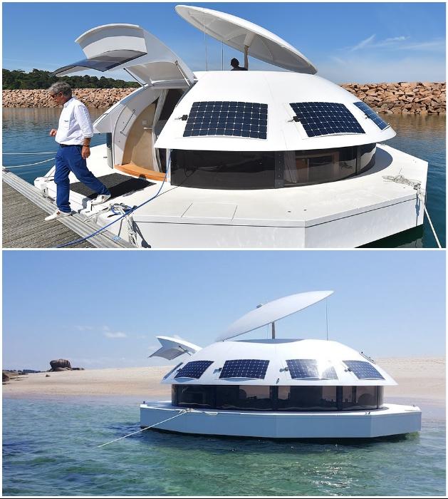 Круглая яхта класса С «Anthenea» – энергетически самодостаточный объект, которым можно управлять без дополнительных разрешений («Anthenea»). | Фото: la-mini-maison.com/ letelegramme.fr.