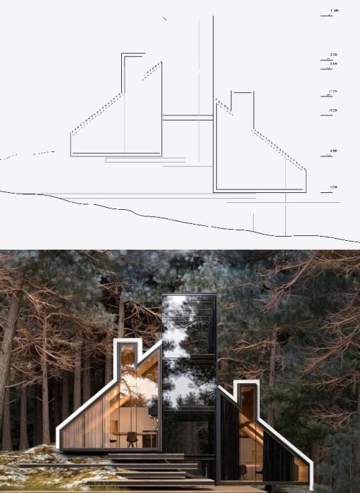 Конструкция дома повторяет очертания склона не нанося урон окружающей среде (концепт Alex Nerovnya Architects).