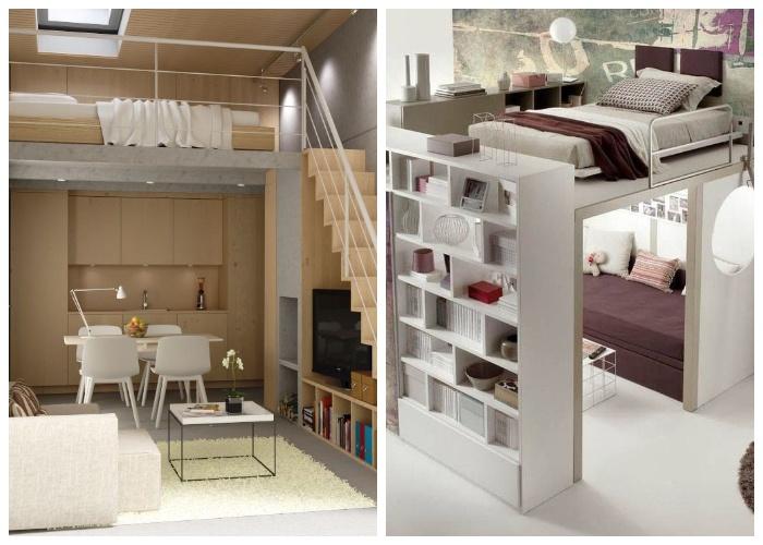 Спальня под потолком – идеальное решение организации пространства и мест хранения. | Фото: ru.pinterest.com.