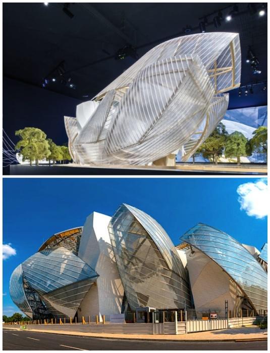 Здание музея Louis Vuitton восхищает уникальным фасадом, больше похожим на хрустальные паруса. | Фото: ru.fashionnetwork.com.