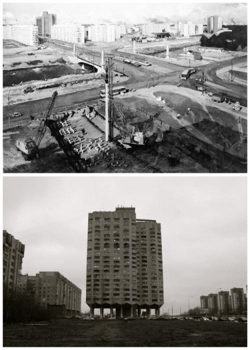 Строительство уникальных домов на опорах проходило в конце 80-х годов прошлого века (Новосмоленская набережная, Санкт-Петербург). | Фото: fishki.net.