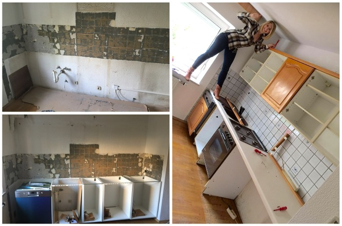 Девушка решилась с помощью родителей сделать ремонт на кухне в очень короткие сроки.