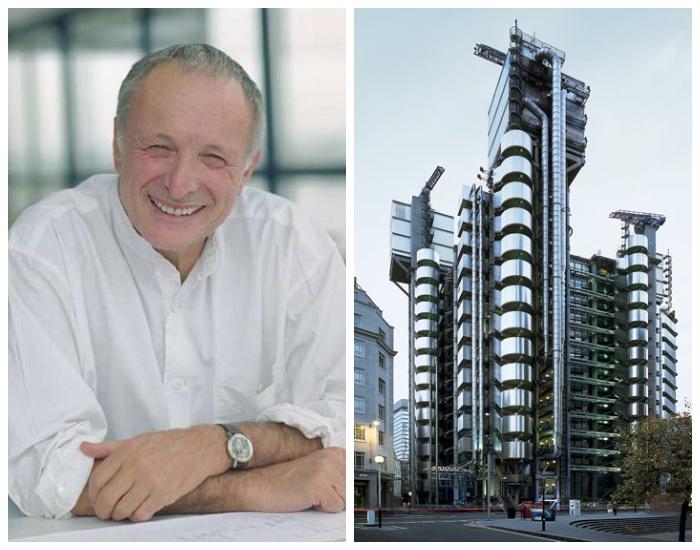 Ричард Роджерс и одно из его знаковых творений Здание компании Lloyd's в Лондоне. | Фото: arx.novosibdom.ru.