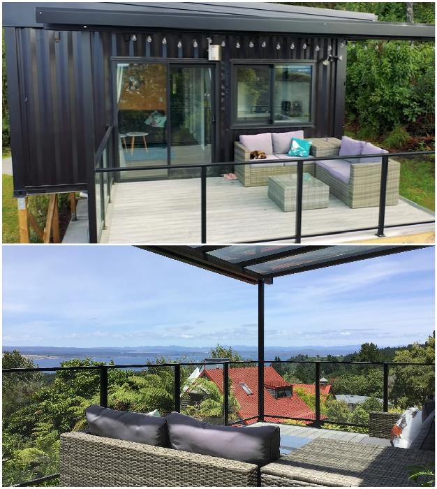 Из террасы открывается великолепный вид на живописное озеро и окрестности. © IQ Container Homes.