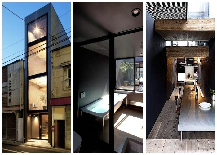 Неординарная планировка позволила создать комфортное жилое пространство («Ultra-Narrow House», Япония).