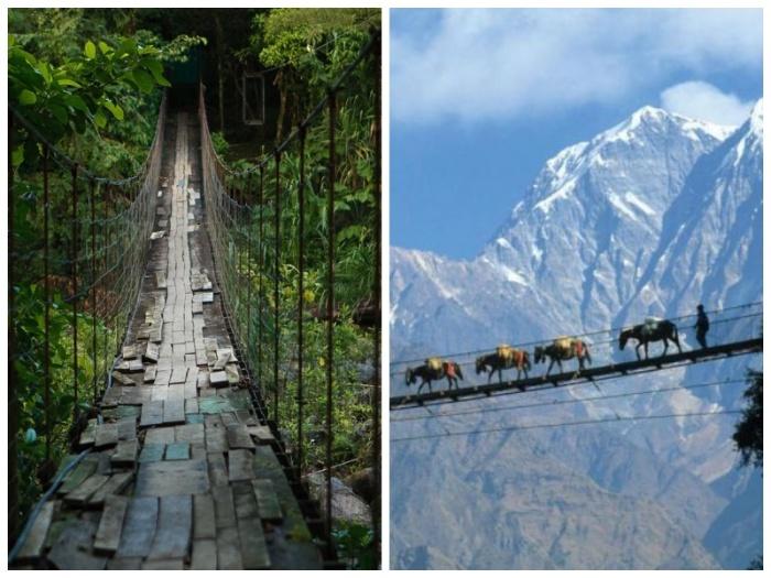 Подвесной мост в Гаса (Непал). |Фото: outdoorukraine.com.