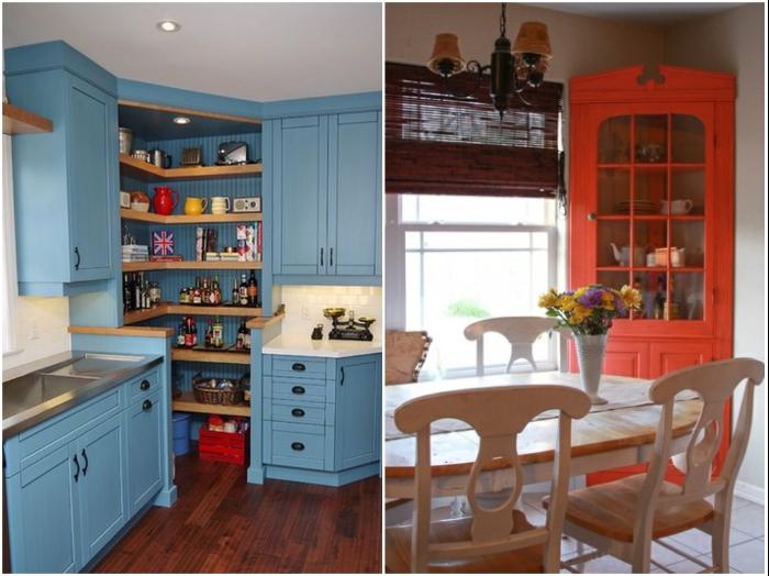 Любой угол в кухне можно задействовать максимально рационально. | Фото: jewelrypress.club/ homebuilding.ru.