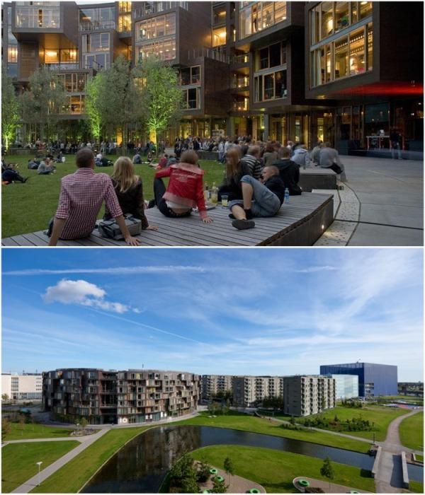 Зеленые зона, как на территории внутреннего двора, так и вокруг кампуса в полном распоряжении студентов (Tietgenkollegiet, Копенгаген). | Фото: iremlandscape.wordpress.com.