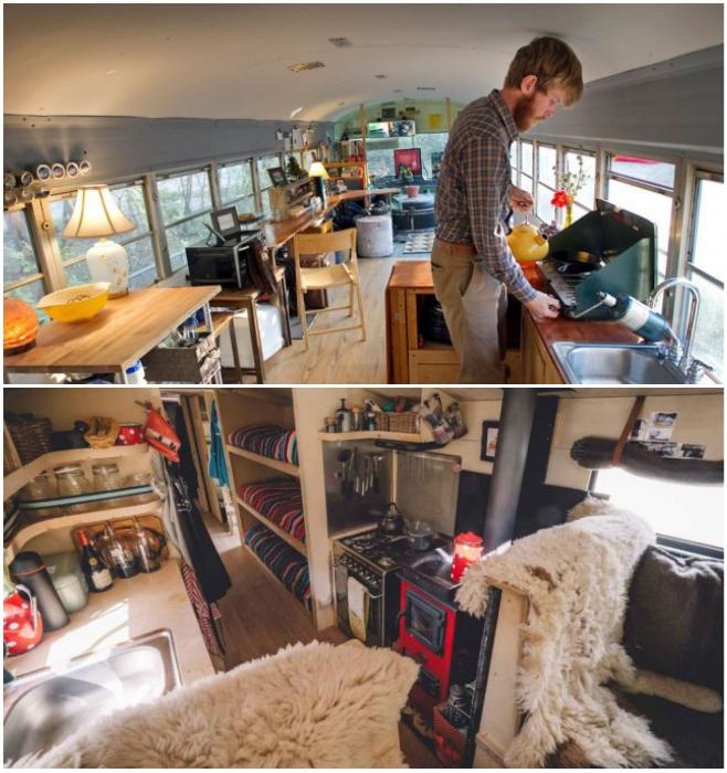 Жизнь в переделанных автобусах еще сложнее, особенно если ты высокого роста. | Фото: teorebus.livejournal.com/ omegashop.com.ua.