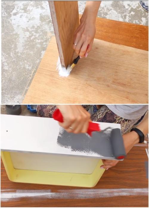 Для покрасочных работ понадобятся валик с велюровым покрытием и маленькая кисточка. | Фото: youtube.com.