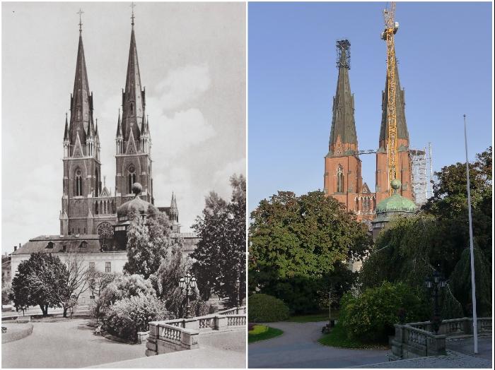 Готический кафедральный собор в городе Uppsala глазами немецкого фотографа Курта Хильшера и голландца Каспера Моленаара (1931 и 2020 гг., Швеция).