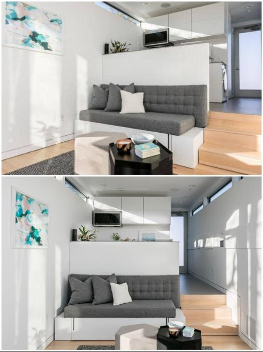 Многофункциональная жилая зона крошечного смарт-дома «Kasita».   Фото: homecrux.com.