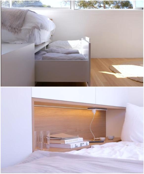 Подиум стал основой для спального места и вместительной системой хранения («Boneca», Сидней). | Фото: youtube.com/ NEVER TOO SMALL.